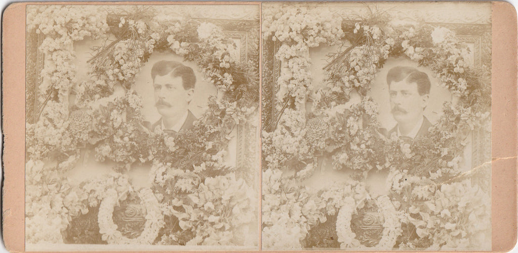 Victorian Funeral Flower Memorial Portrait Stereoview