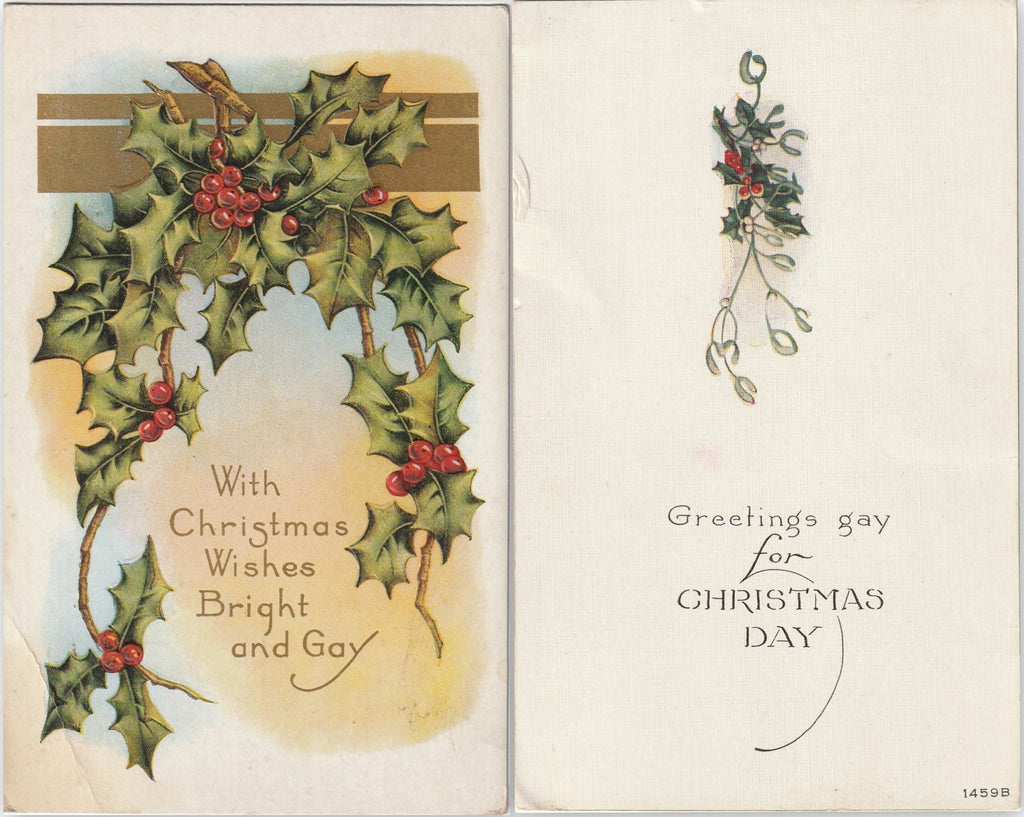 Greetings Gay For Christmas Day Antique Postcards