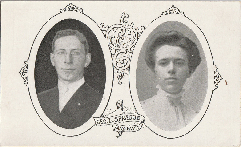 Geo. L. Sprague and Wife - Postcard, c. 1900s