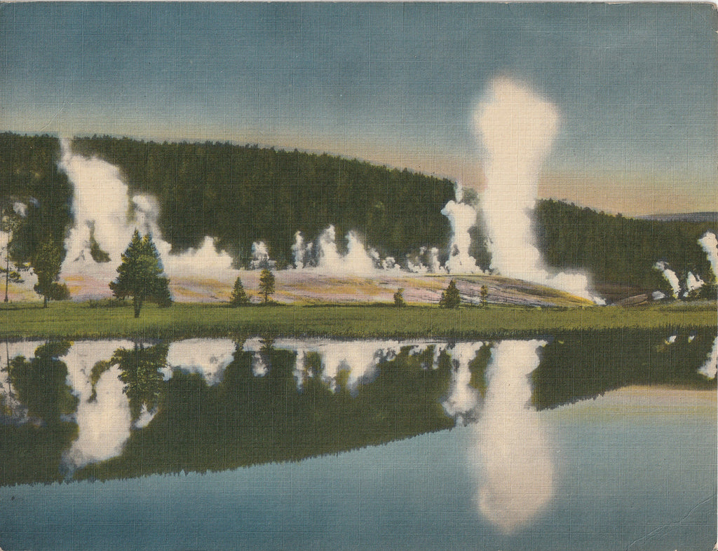 Geyser Hill, Upper Geyser Basin, Yellowstone National Park, WY - Giant Postcard, c. 1940s