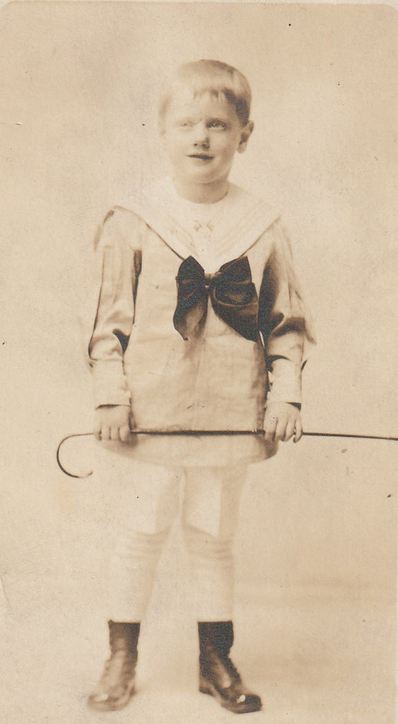 Ghostly Edwardian Sailor Boy Antique Photo RPPC Close Up