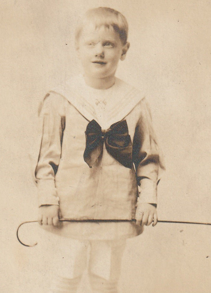 Ghostly Edwardian Sailor Boy Antique Photo RPPC Close Up 2