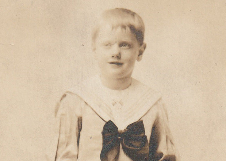 Ghostly Edwardian Sailor Boy Antique Photo RPPC Close Up 3