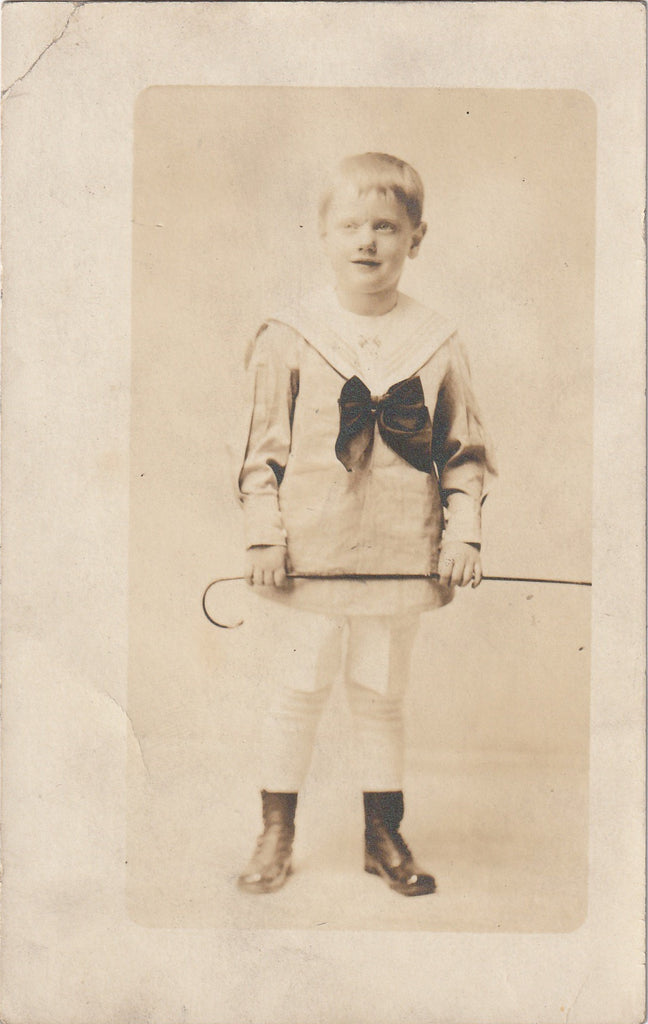 Ghostly Edwardian Sailor Boy Antique Photo RPPC