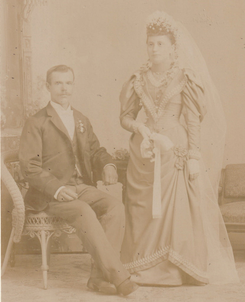 Ghostly Victorian Bride and Groom Cabinet Photo Close Up