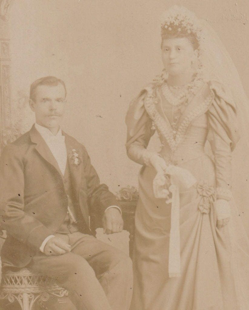 Ghostly Victorian Bride and Groom Cabinet Photo Close Up 2