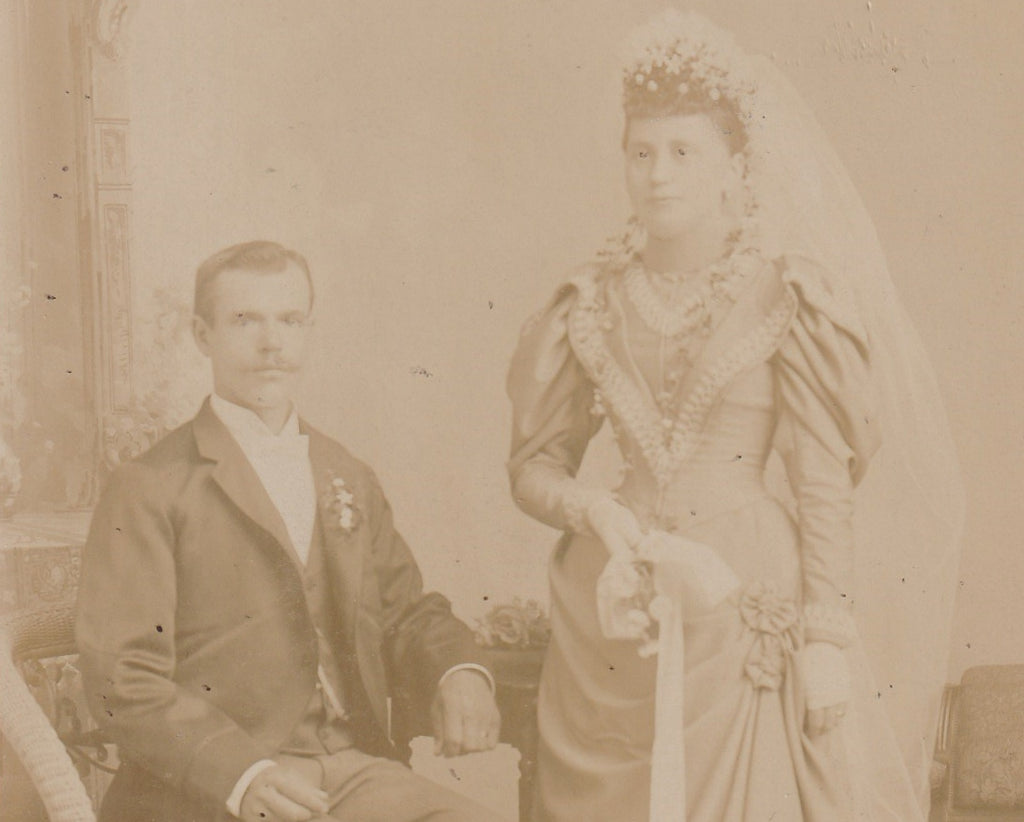 Ghostly Victorian Bride and Groom Cabinet Photo Close Up 3