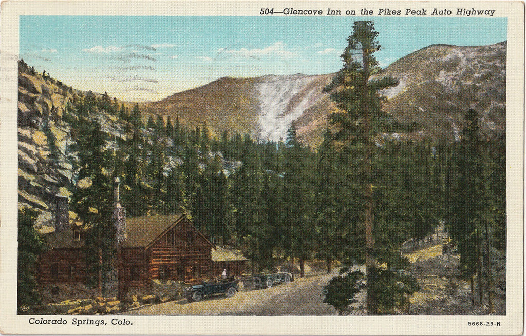 Glencove Inn on Pikes Peak Auto Highway Colorado Springs Postcard
