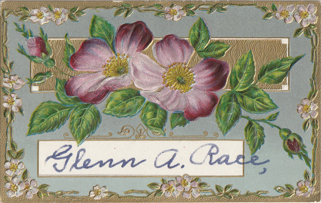 Glenn A. Race Edwardian Floral Antique Postcard