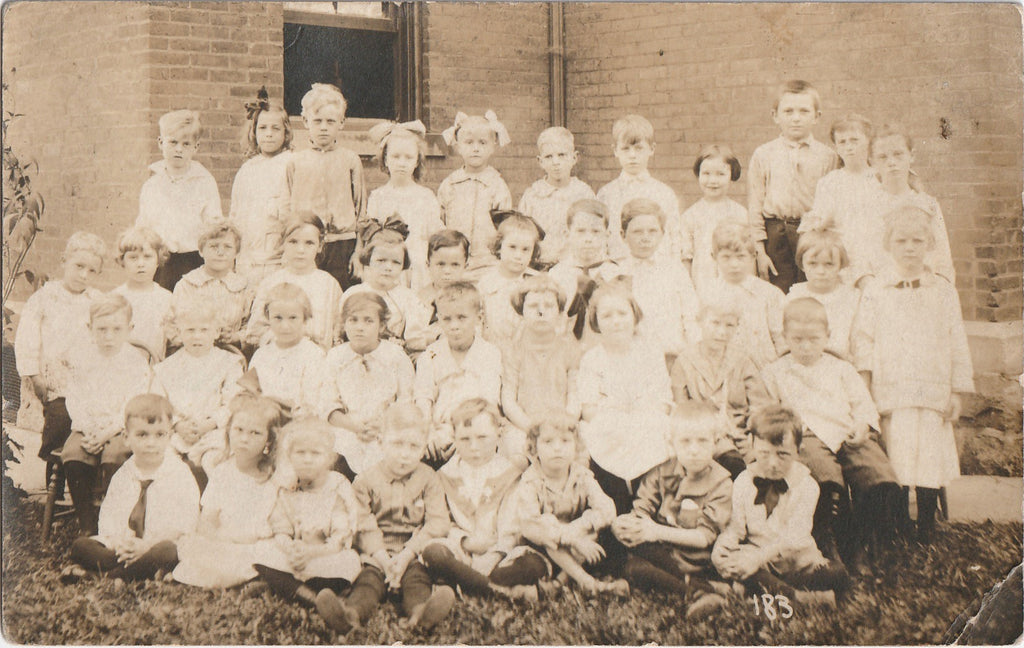 Gloomy Edwardian School Children RPPC