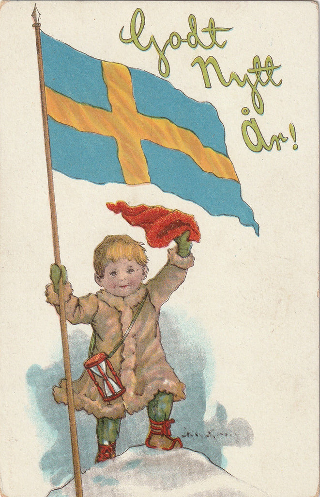 Godt Nytt År Swedish Flag Postcard