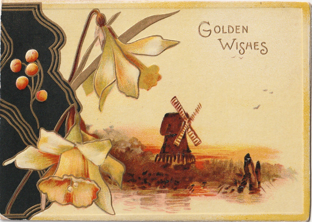 Golden Wishes For a Happy Yule-tide - Card, c. 1900s