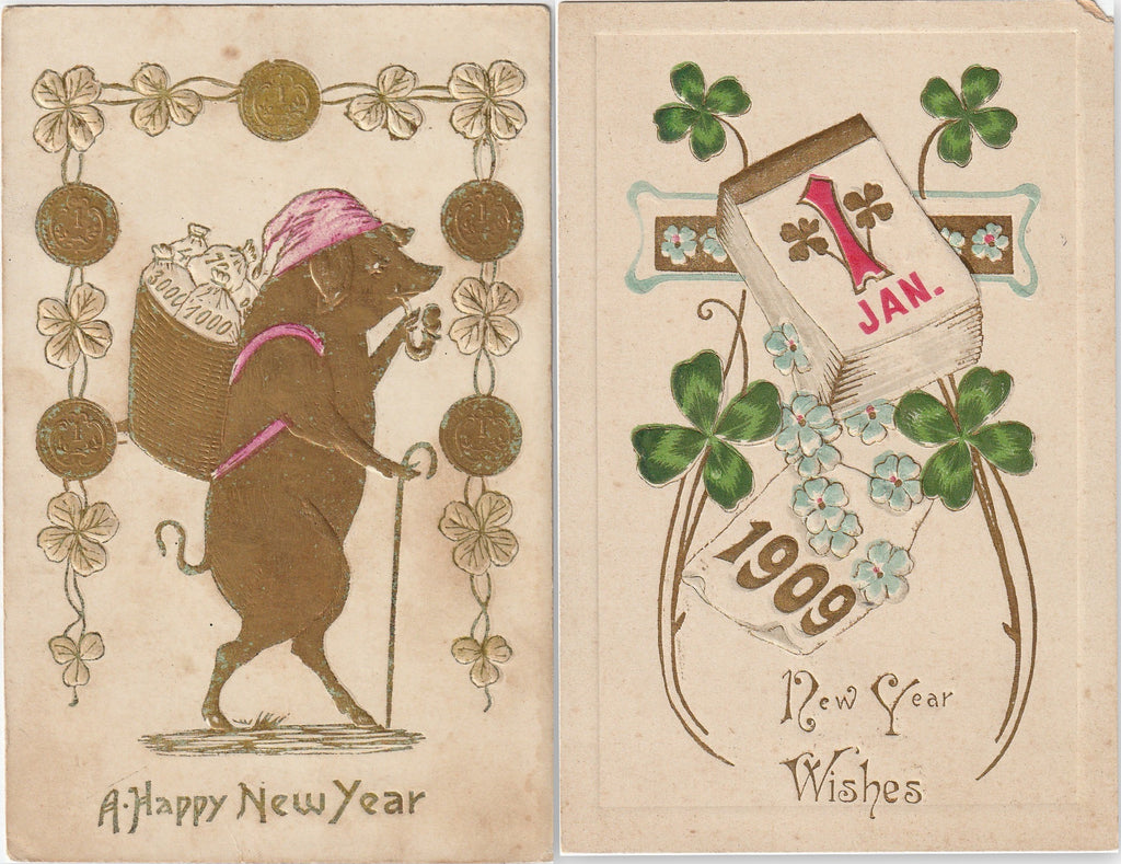 Good Luck And Prosperity New Year Antique Postcards