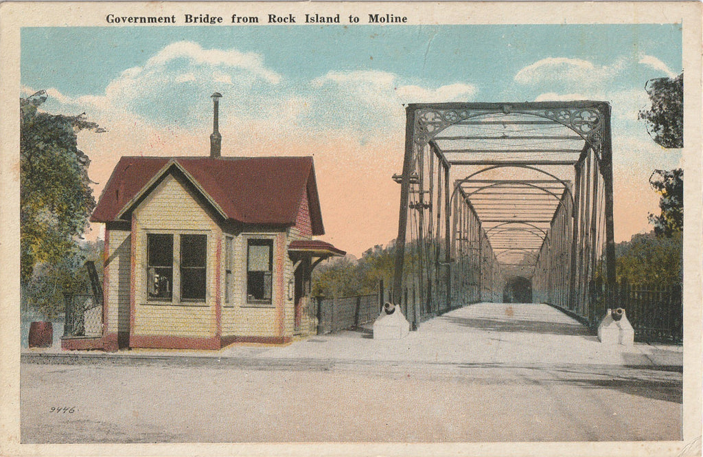 Government Bridge Rock Island Moline Illinois Postcard