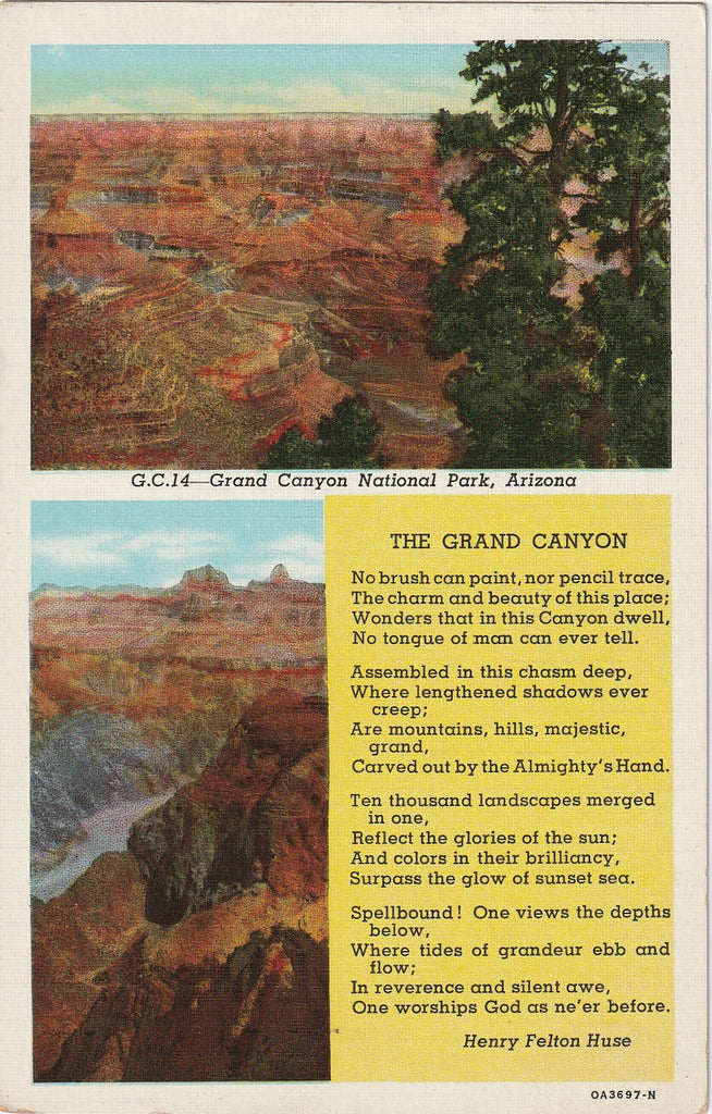 Grand Canyon Poem Henry Felton Huse Postcard