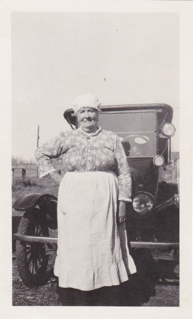 Granny's Pride and Joy- 1920s Antique Photographs- SET of 3- Automobile- Woman and Car- Found Photos- Vernacular Snapshot- Paper Ephemera