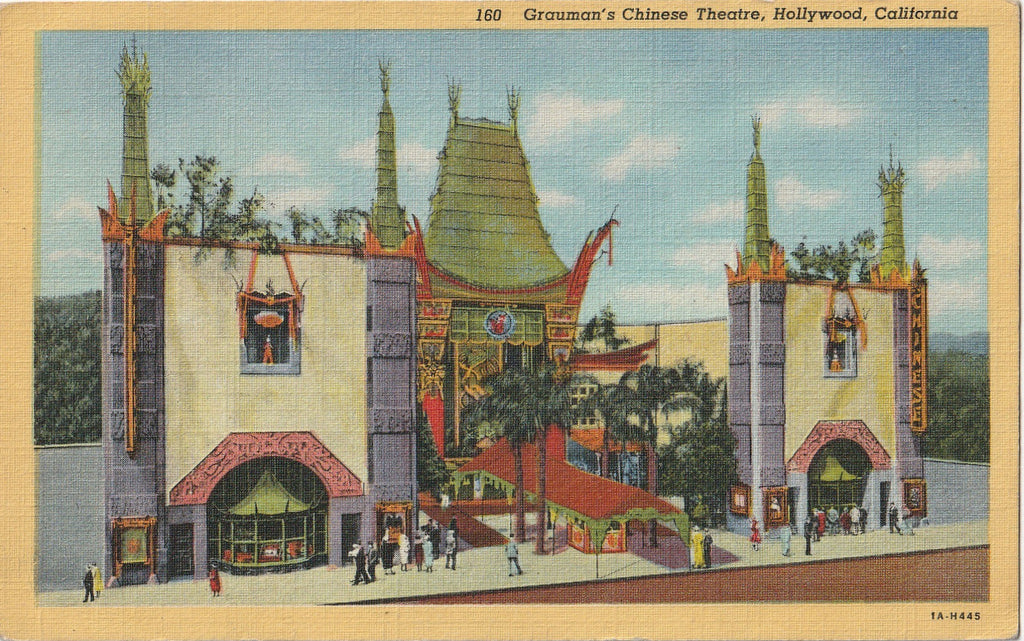 Grauman's Chinese Theatre Hollywood Vintage Postcard