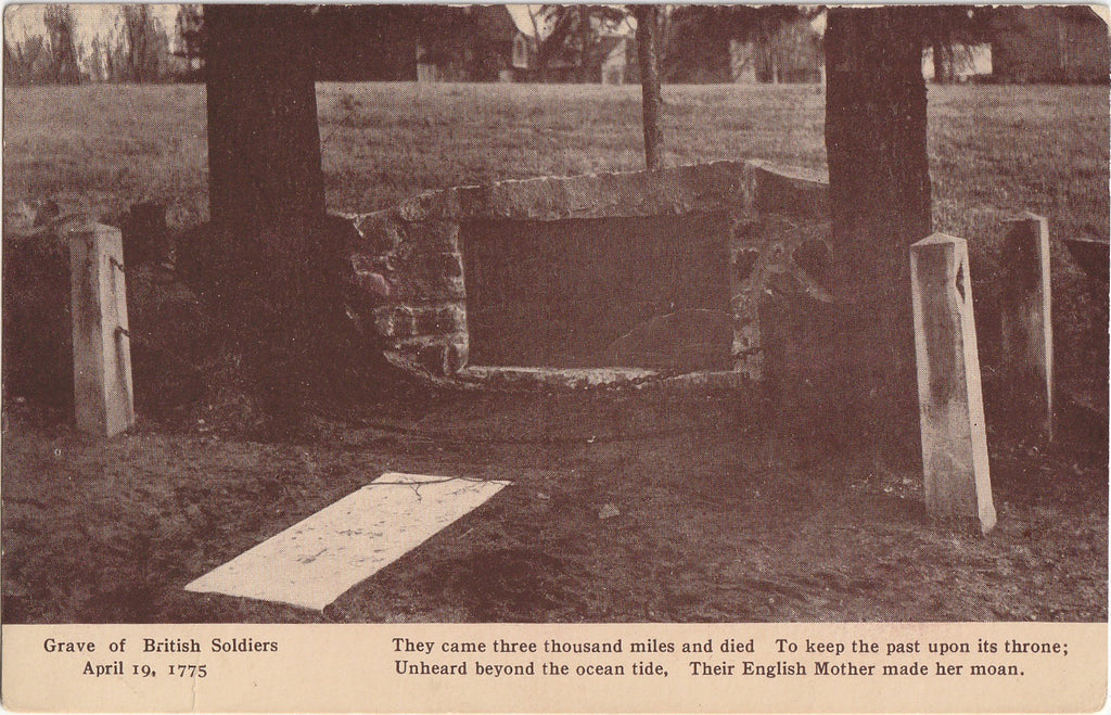 Grave of British Soldiers - April 19, 1775 - Concord, Massachusetts - Postcard, c. 1900s