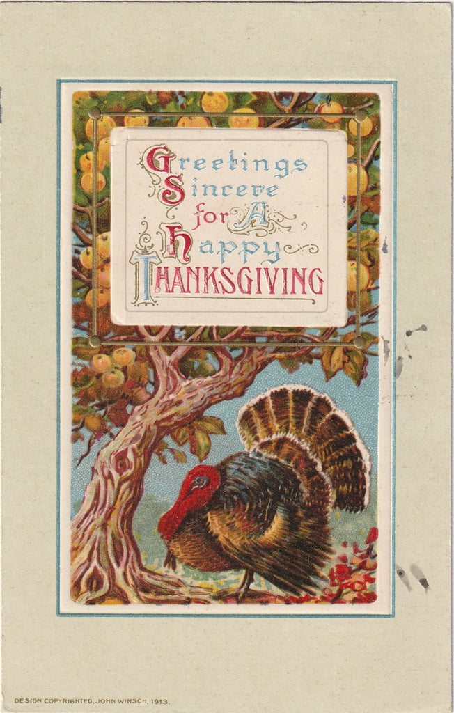 Greetings Sincere for A Happy Thanksgiving - Postcard, c. 1910s