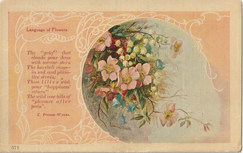 Grief Language of Flowers J Leslie Melville Antique Postcard