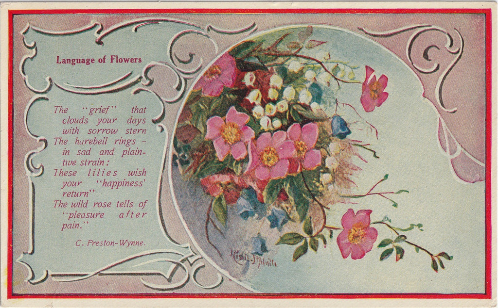 Grief That Clouds Your Days Flower Language Antique Postcard