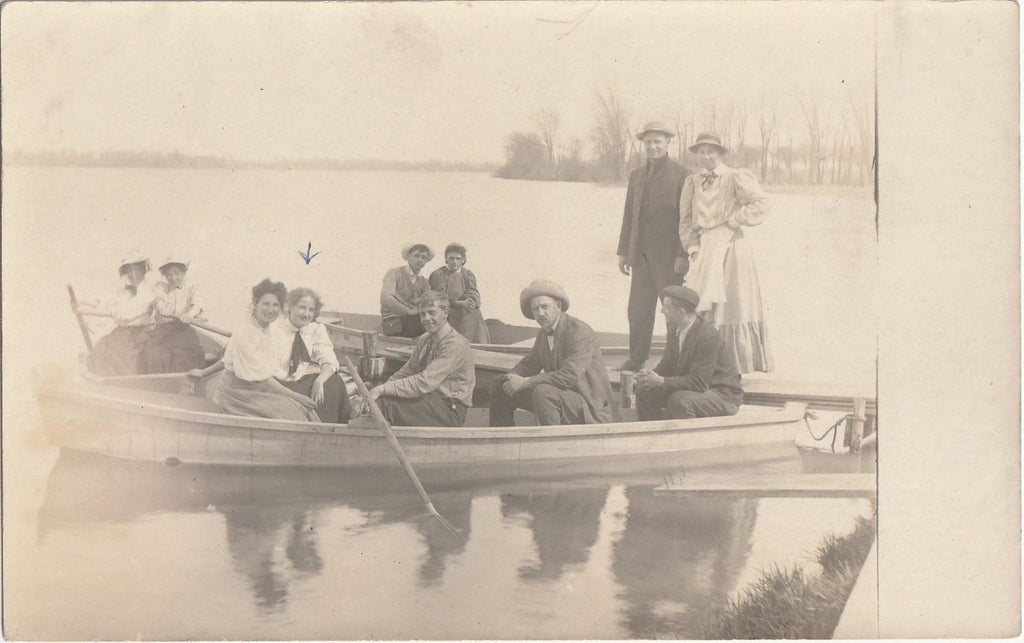 Row Boat Edwardian Family RPPC