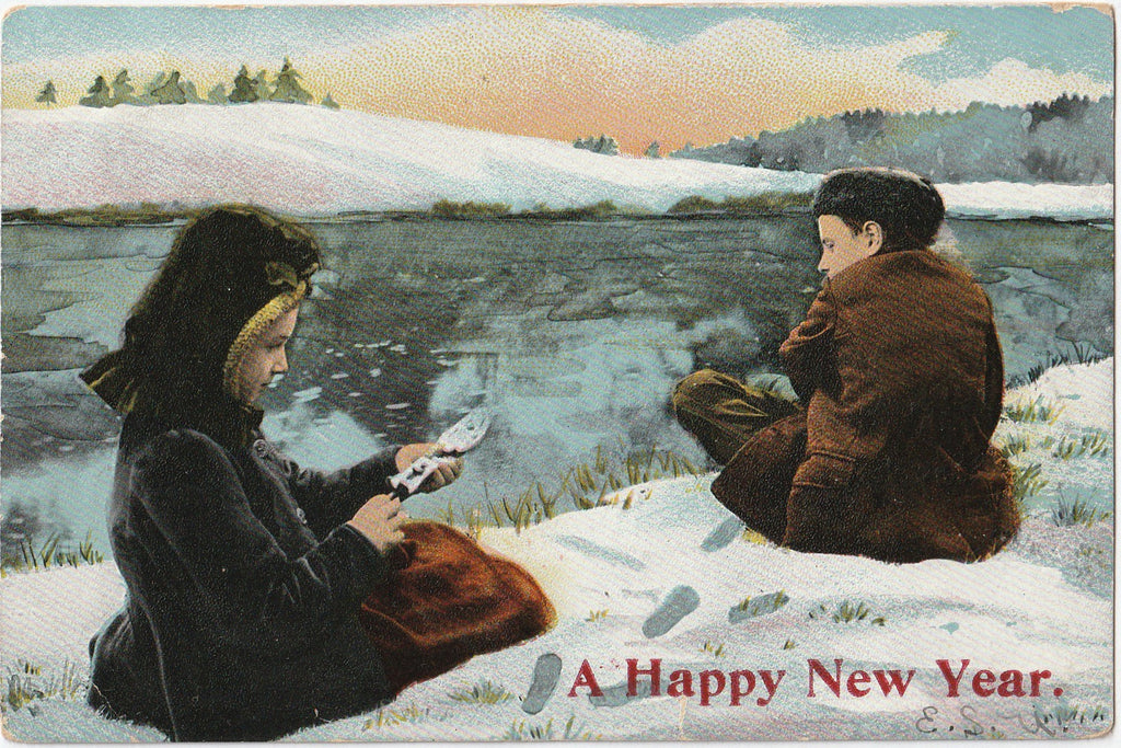 Happy New Year Ice Skaters Antique Postcard