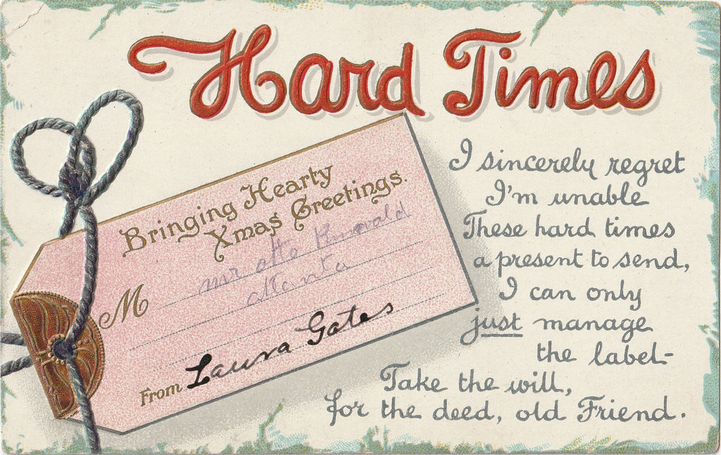 Hard Times B B London Christmas Postcard