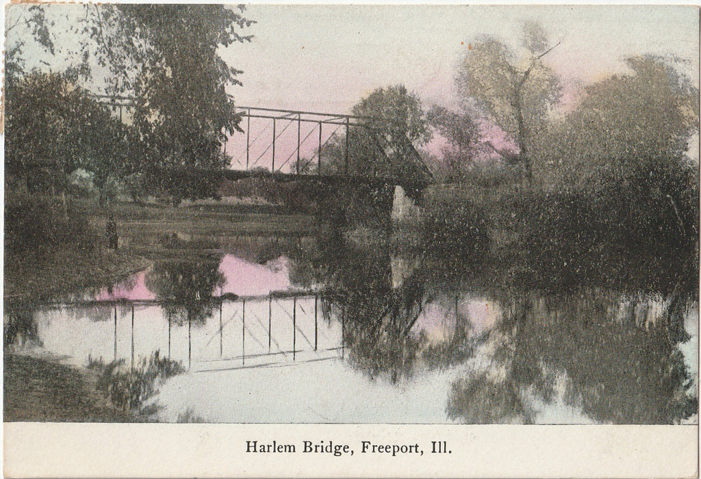 Harlem Bridge - Freeport, IL - Postcard, c. 1900s