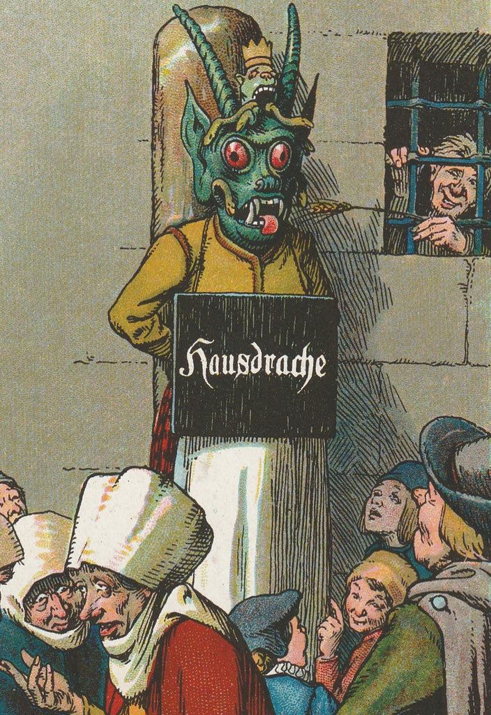 Hausdrache Medieval Punishment Antique Postcard Close Up
