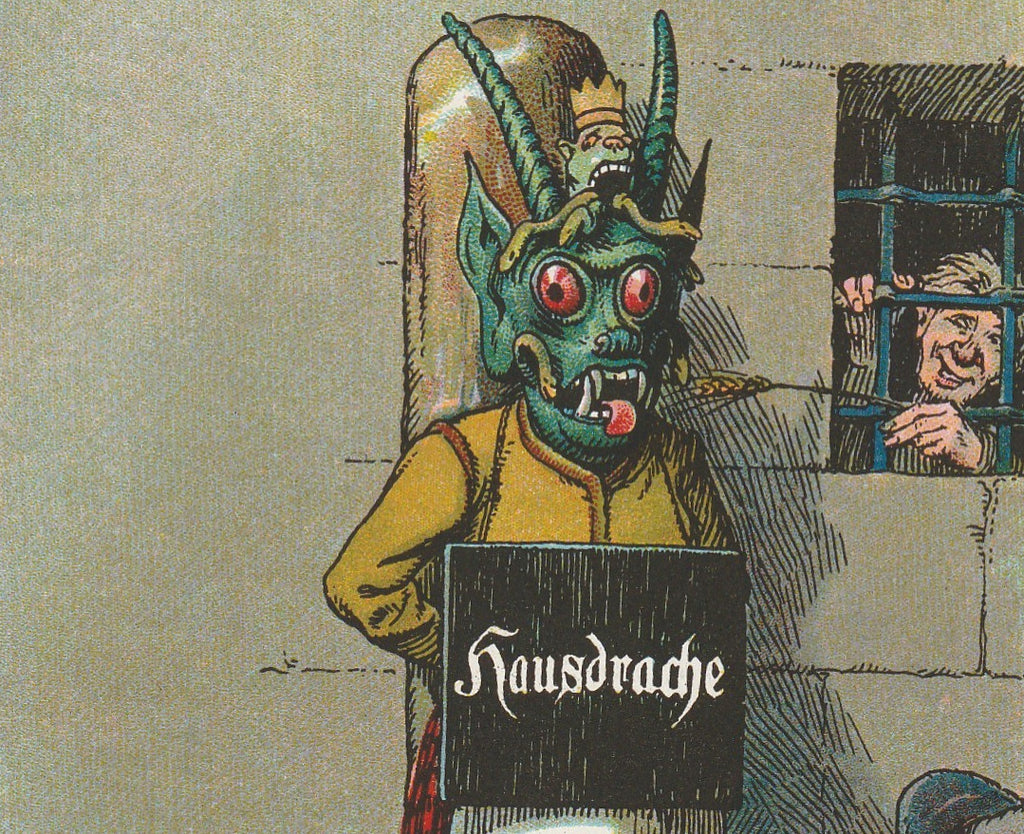 Hausdrache Medieval Punishment Antique Postcard Close Up 2