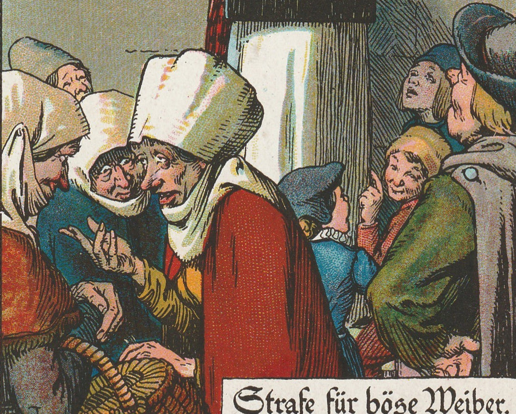 Hausdrache Medieval Punishment Antique Postcard Close Up 3