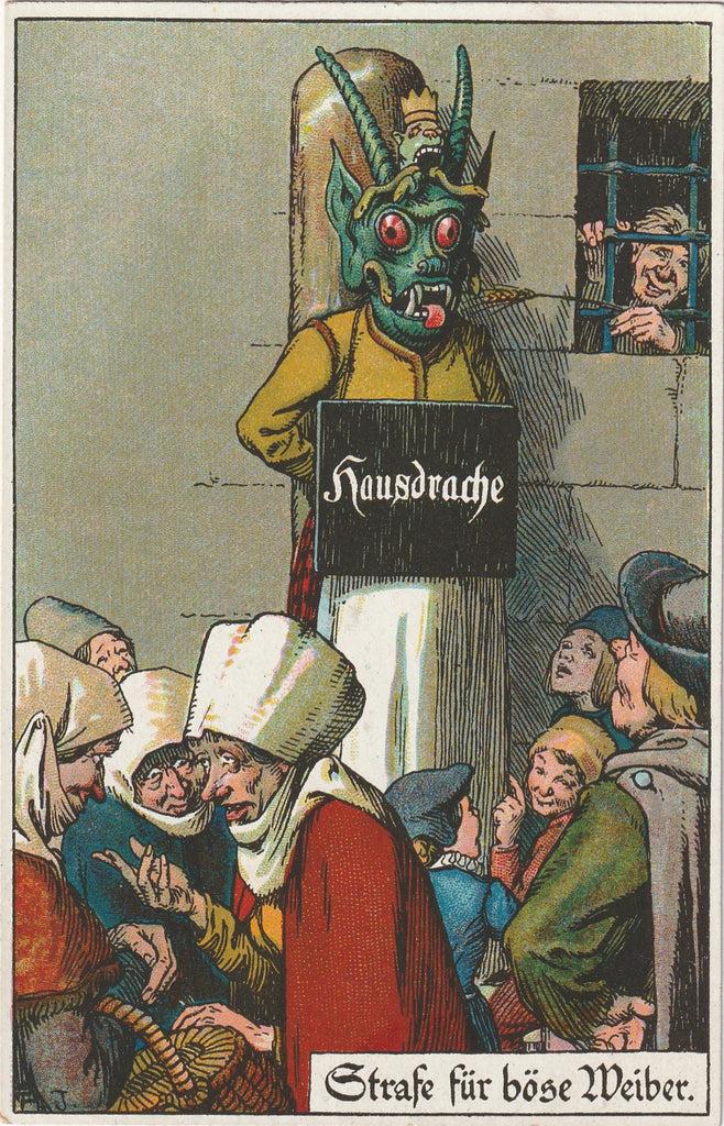 Hausdrache Medieval Punishment Antique Postcard