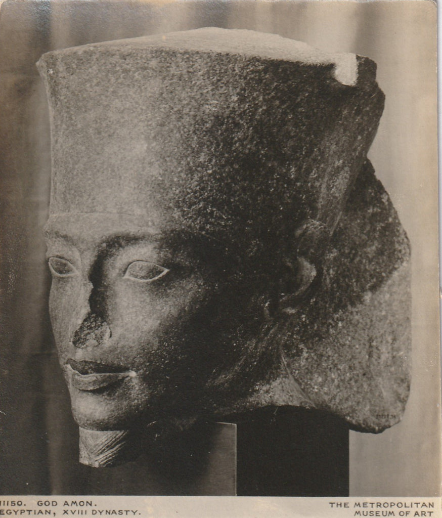 Head of Egyptian God Amon Antique Photo Close Up
