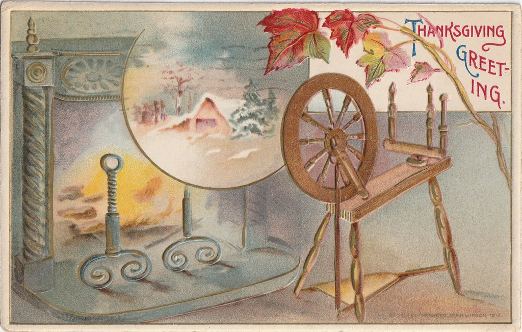 Hearthside Spinning Wheel - Thanksgiving - John Winsch Postcard