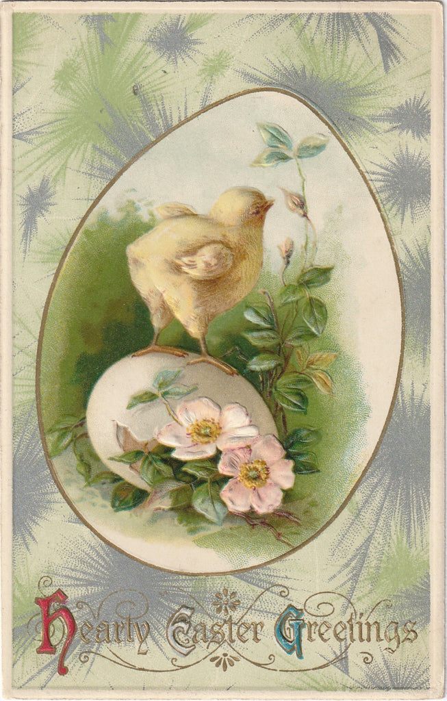 Hearty Easter Greetings Antique Postcard