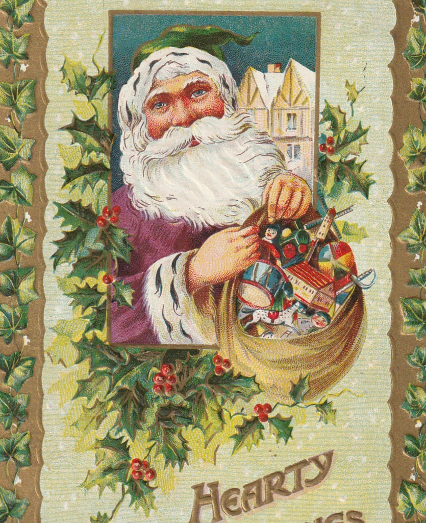 Hearty Greetings From Santa Antique Postcard Close Up