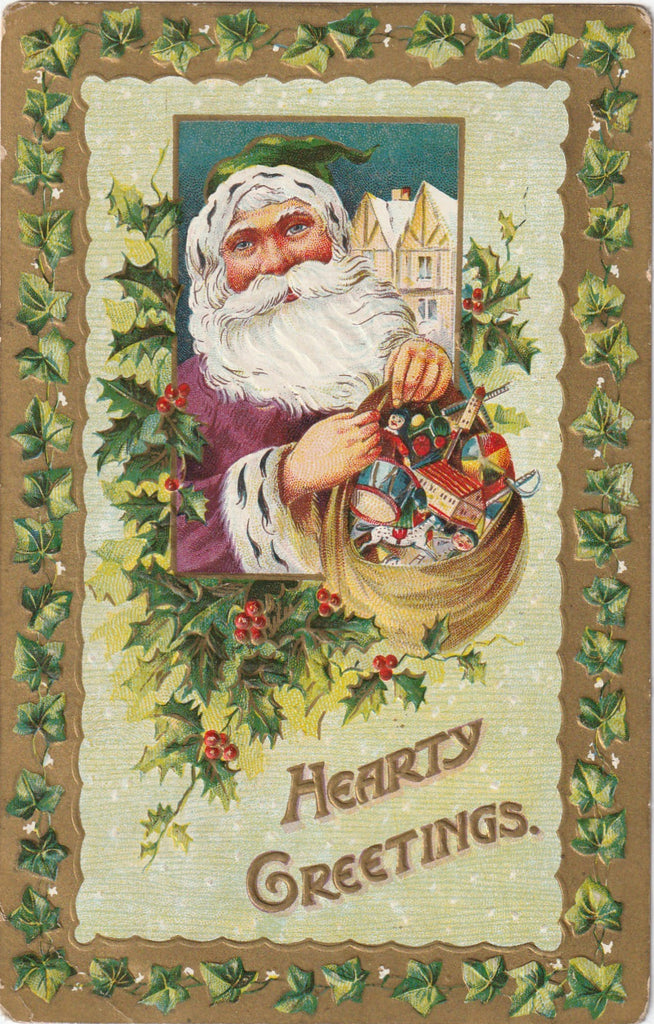 Hearty Greetings From Santa Antique Postcard