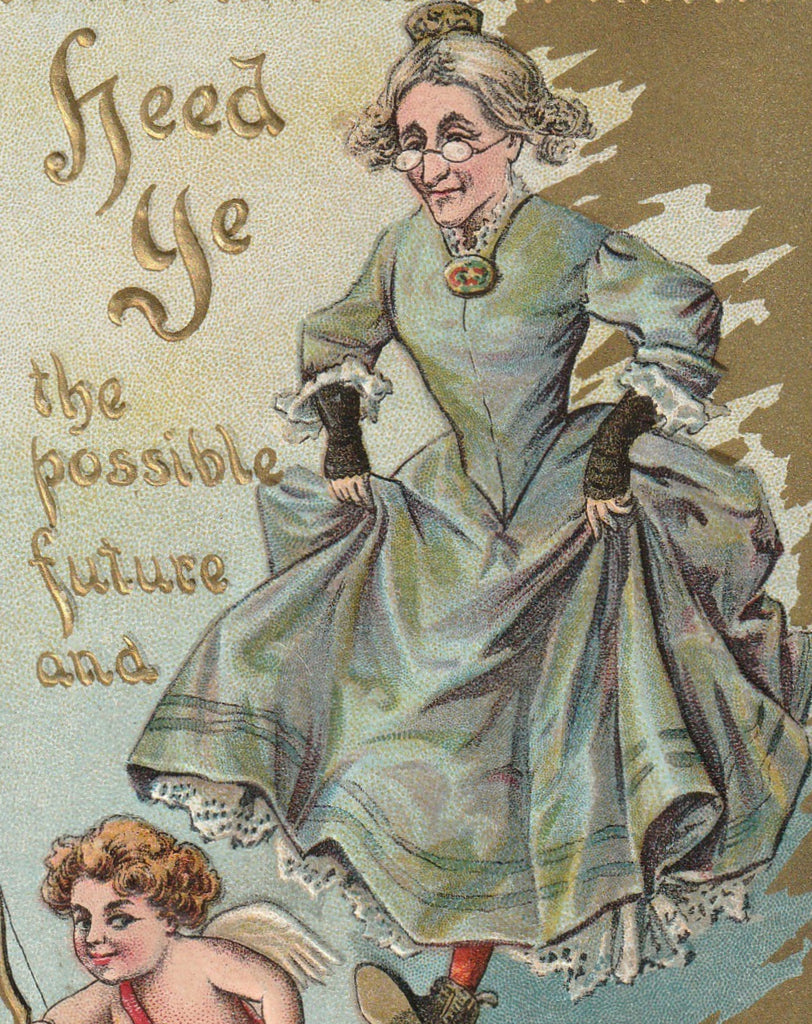 Heed Ye the Possible Future and Be My Valentine Postcard Close Up