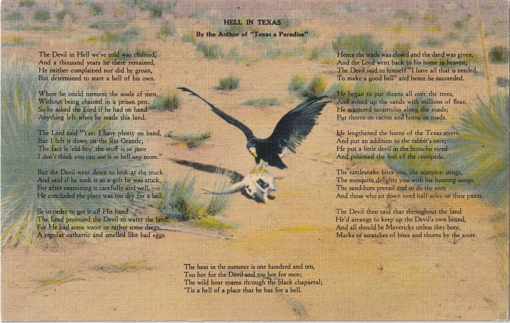 Hell in Texas Poem Vintage Postcard