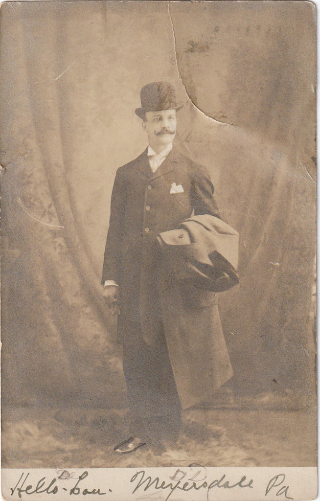 Hello Lou Bowler Hat Mustache Antique Photo RPPC