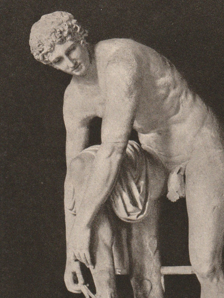 Hermes Statue Glytothek Munich Antique Postcard Close Up 2