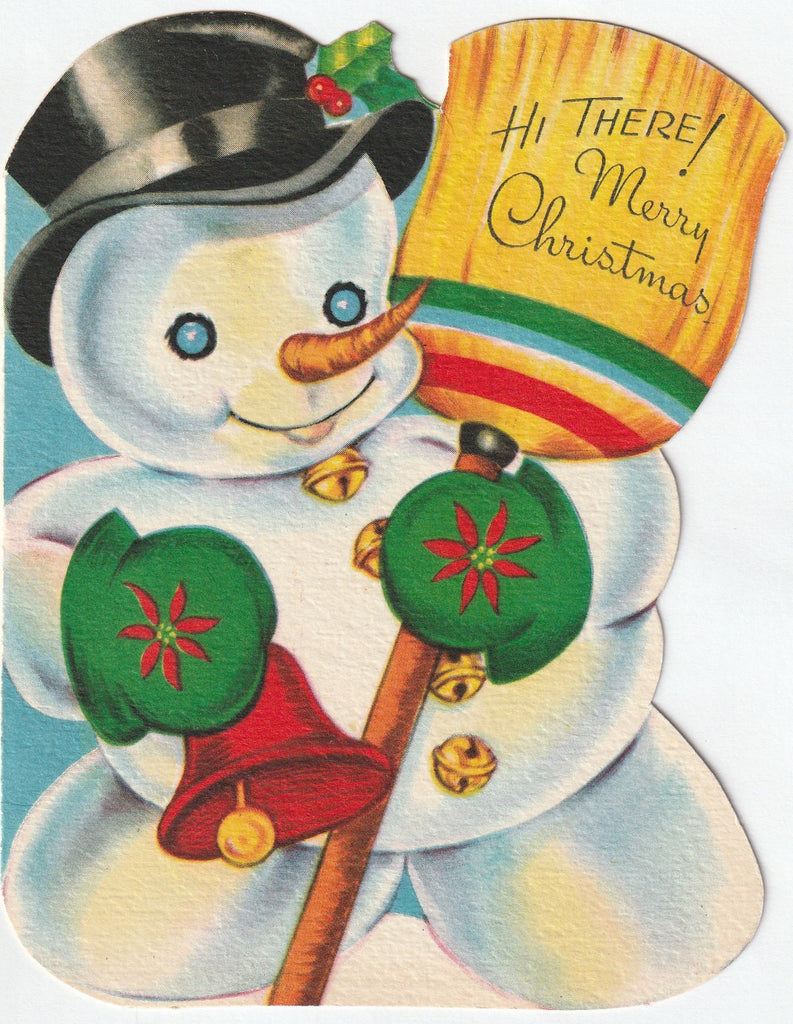 Hi There Merry Christmas - Jolly Snowman Card c. 1950s