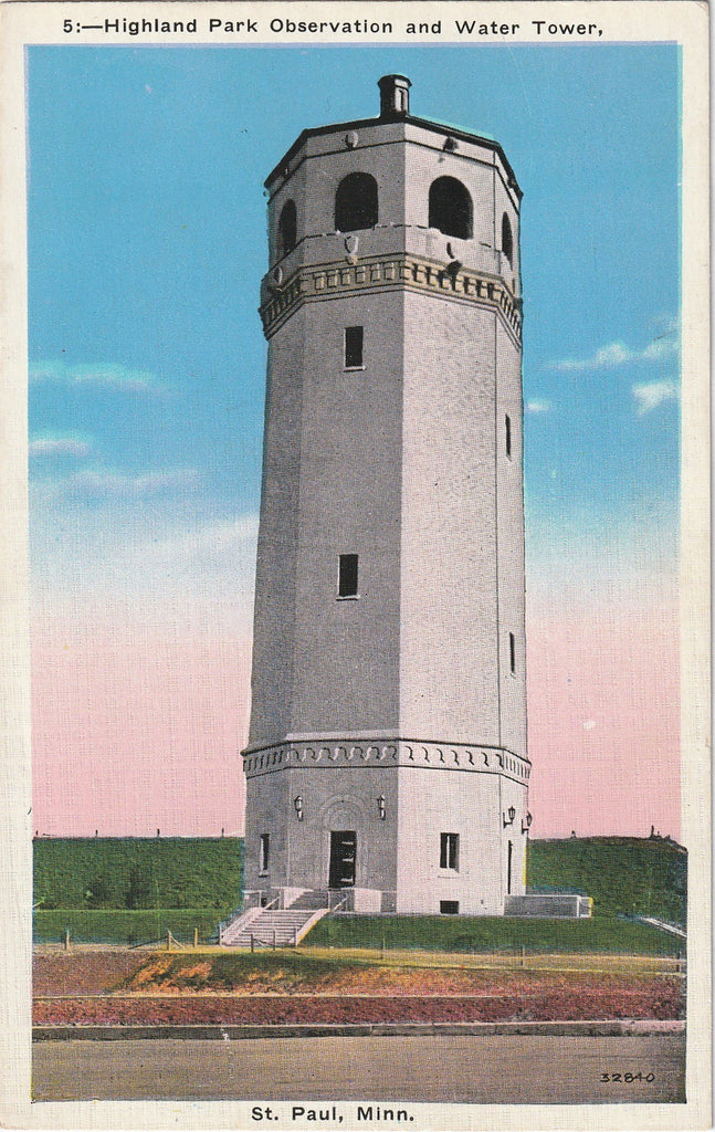 Highland Park Observatory Water Tower - St. Paul, MN - Postcard, c. 1920s