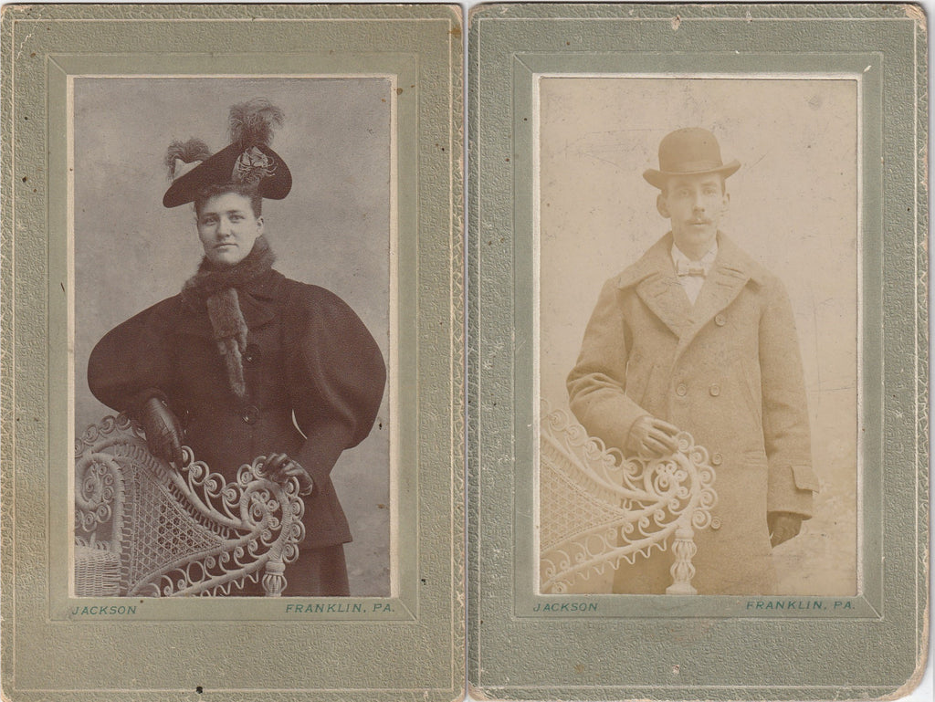 His and Hers Portraits - SET of 2 - Cabinet Photos, c. 1890s