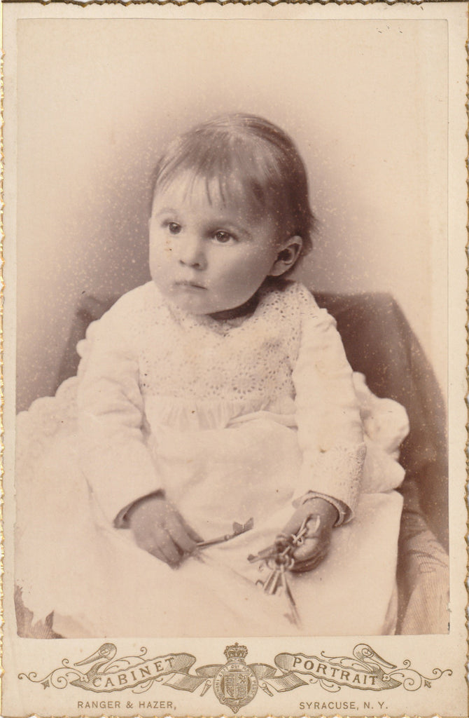 Victorian Baby Holding Skeleton Keys Syracuse NY Cabinet Photo