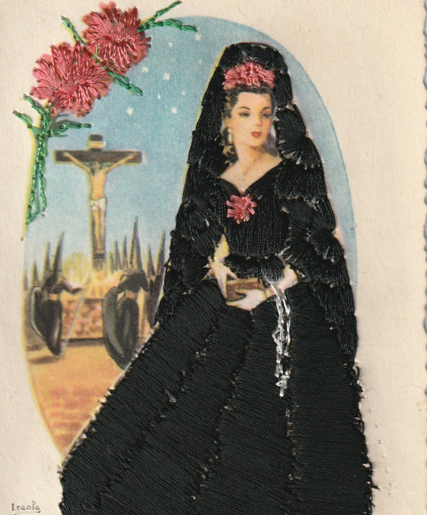 Holy Week Mantilla Embroidered Vintage Postcard Close Up