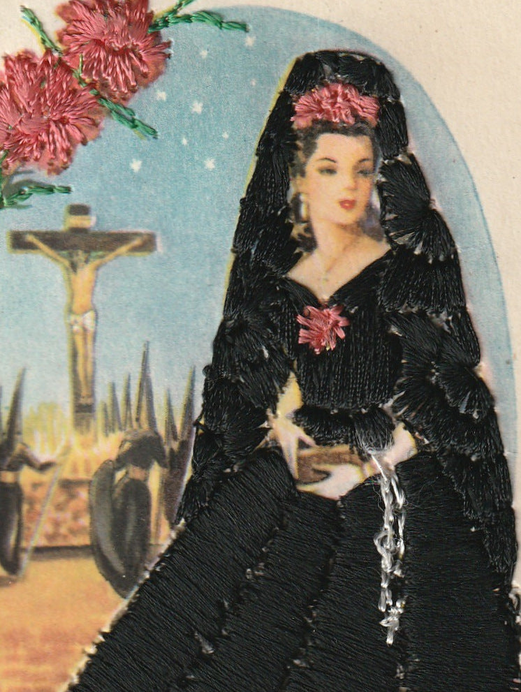 Holy Week Mantilla Embroidered Vintage Postcard Close Up 2