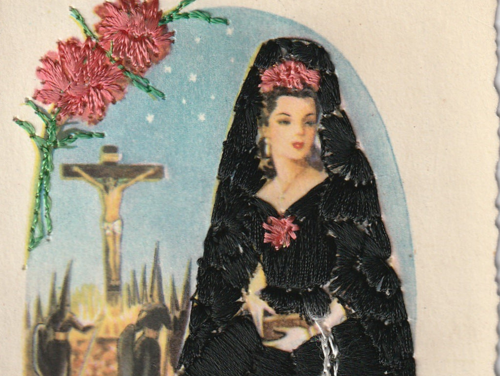 Holy Week Mantilla Embroidered Vintage Postcard Close Up 3