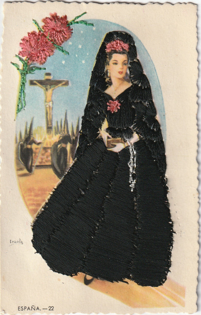 Holy Week Mantilla Embroidered Vintage Postcard